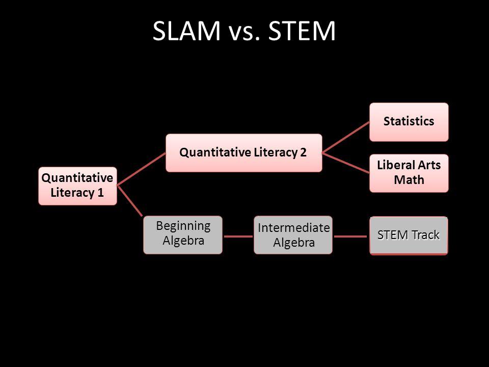 SLAM vs. STEM Statistics Quantitative Literacy 2 Liberal Arts Math