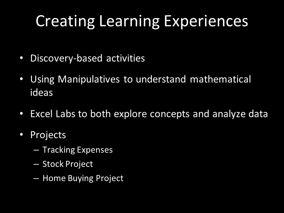 Creating Learning Experiences
