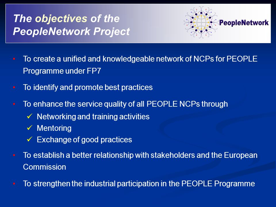 The objectives of the PeopleNetwork Project