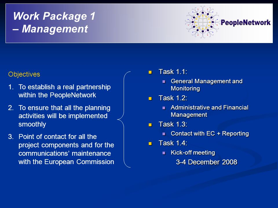 Work Package 1 – Management Task 1.1: Objectives