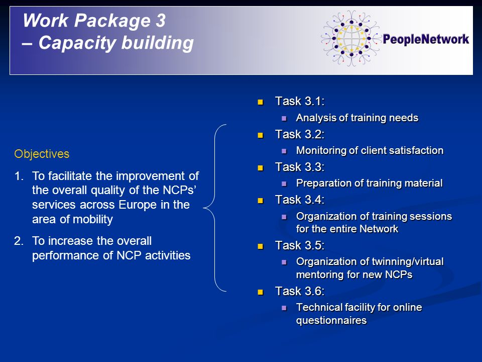 Work Package 3 – Capacity building Task 3.1: Task 3.2: Task 3.3: