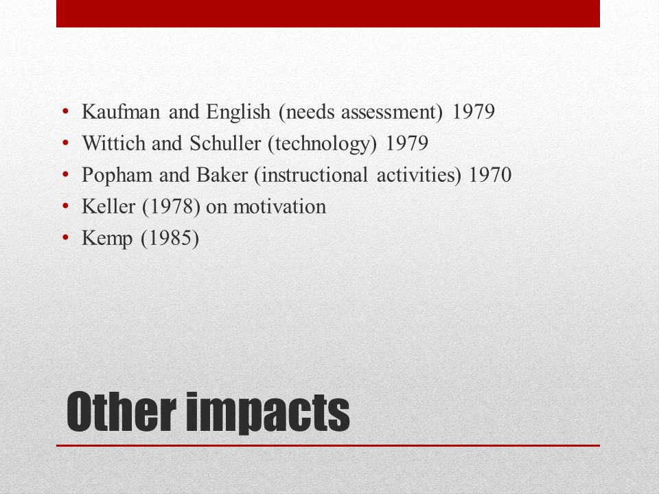 Other impacts Kaufman and English (needs assessment) 1979