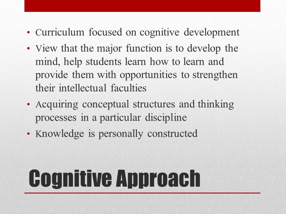 Cognitive Approach Curriculum focused on cognitive development