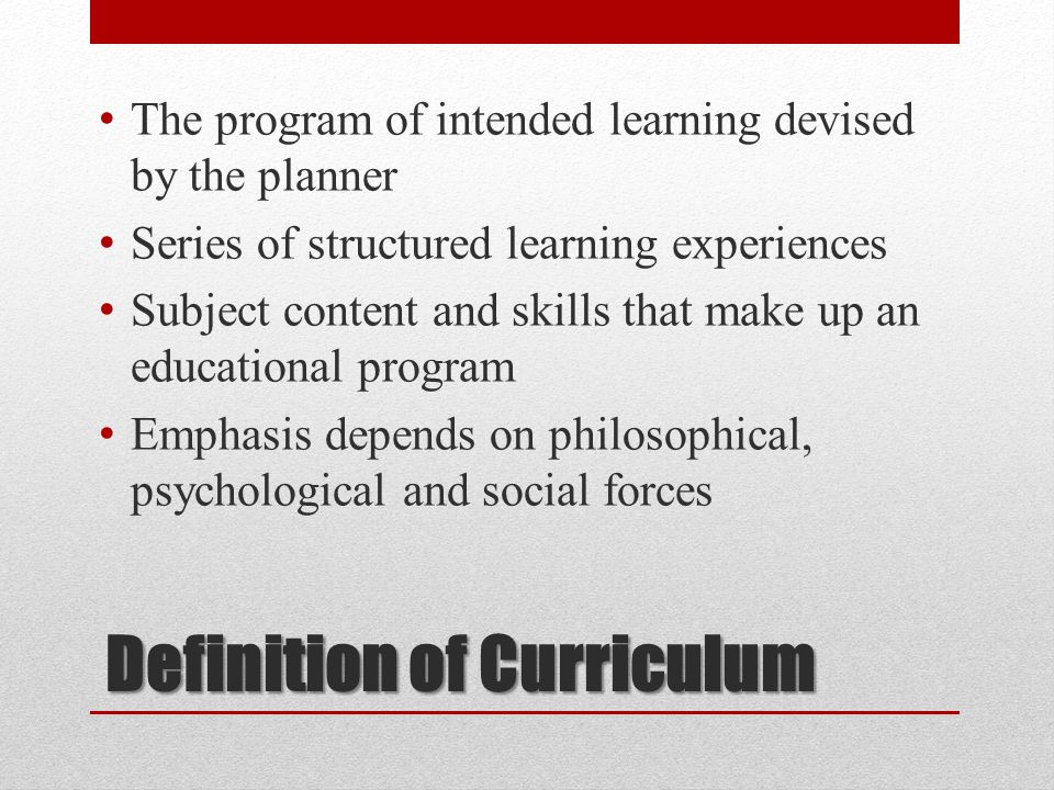 Definition of Curriculum