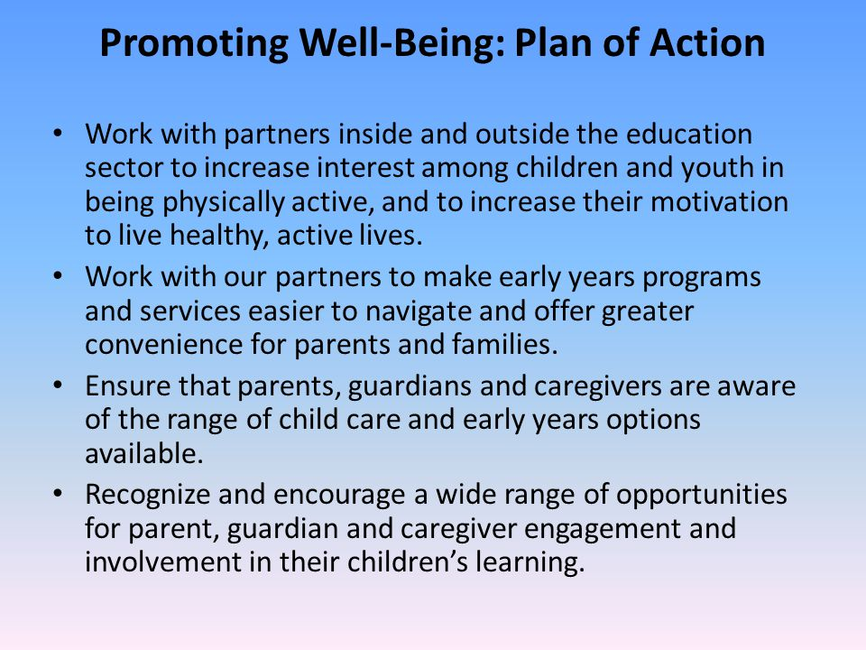 Promoting Well-Being: Plan of Action