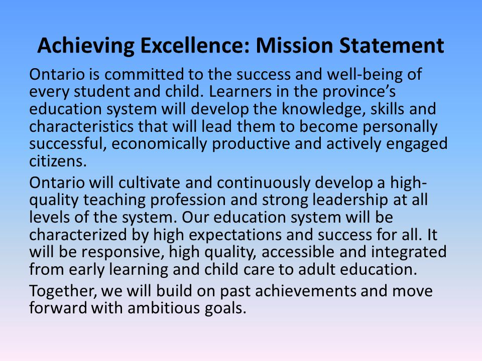 Achieving Excellence: Mission Statement