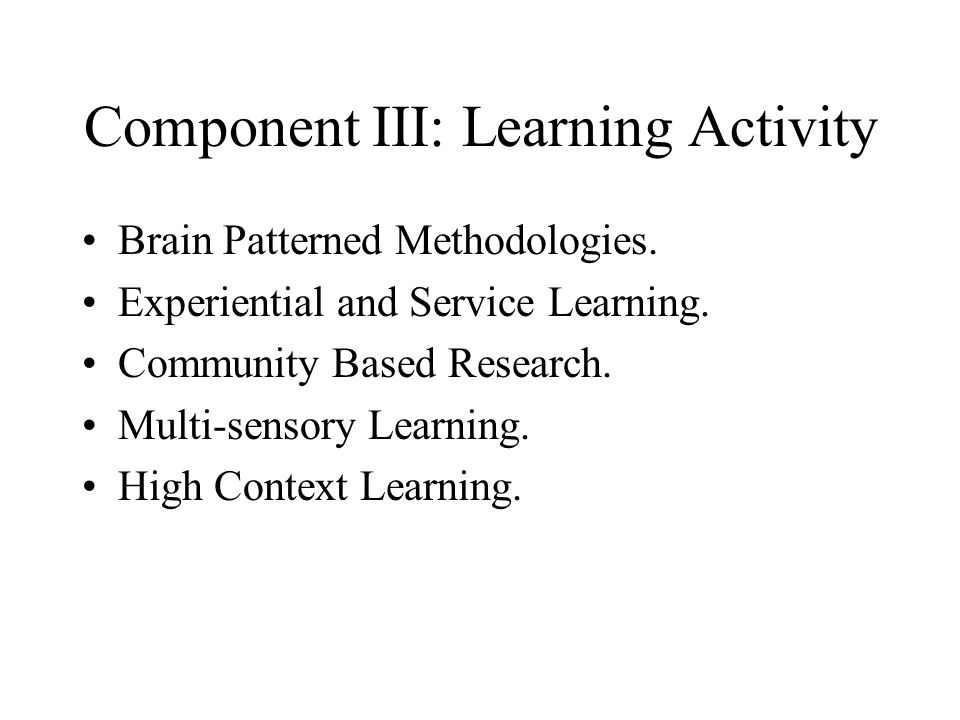 Component III: Learning Activity
