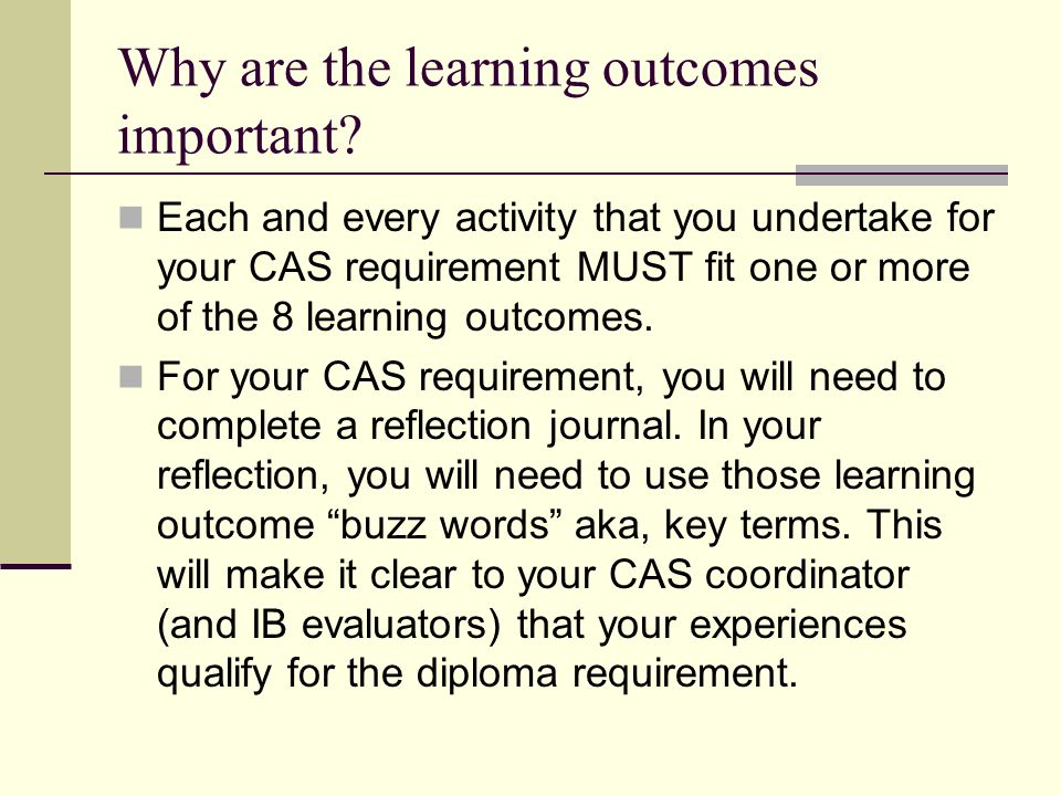Why are the learning outcomes important
