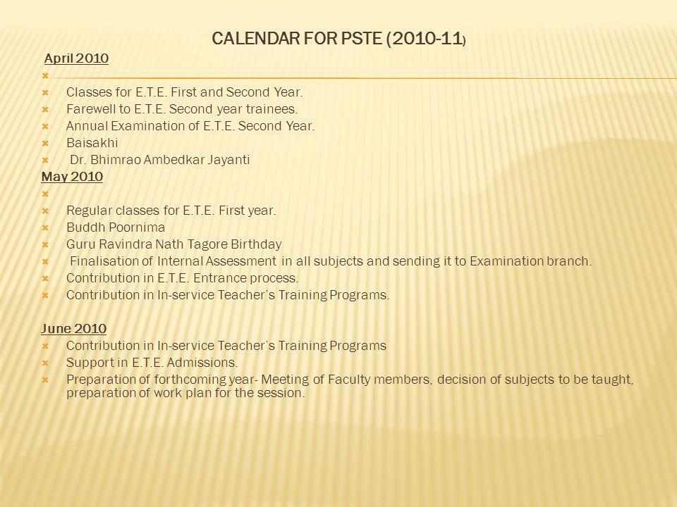 CALENDAR FOR PSTE (2010-11) April 2010