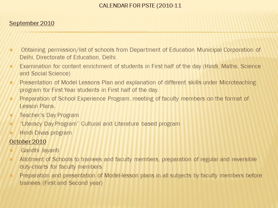 CALENDAR FOR PSTE (2010-11 September 2010 .