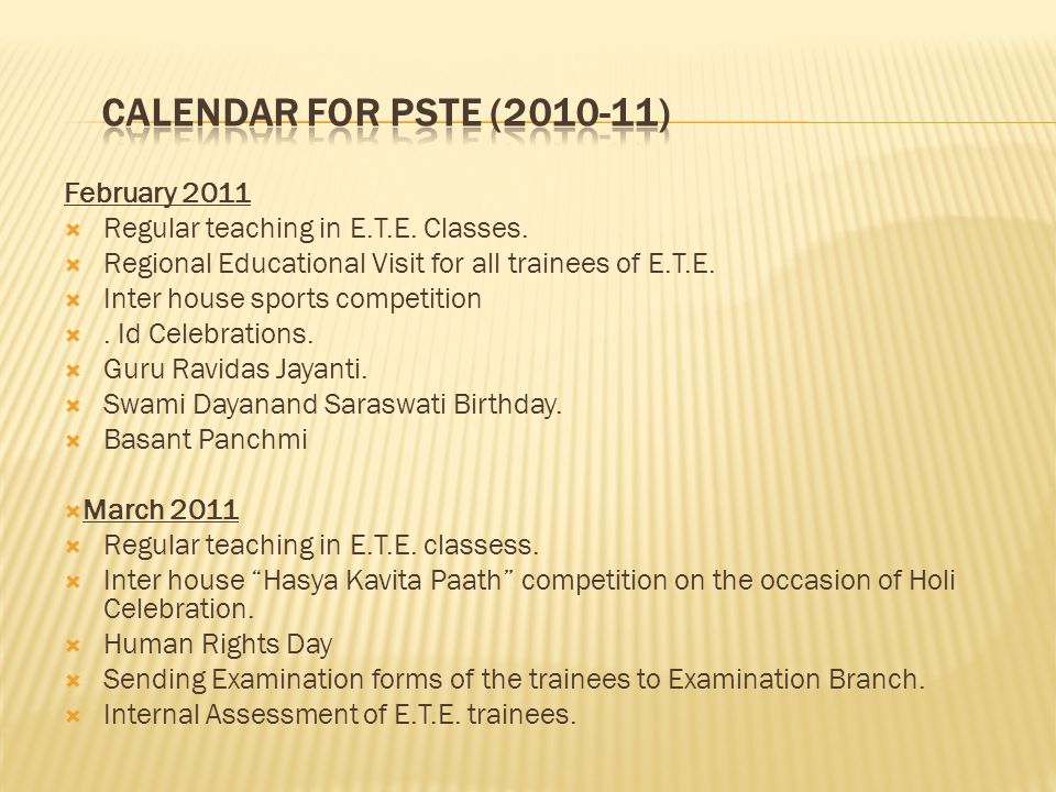 CALENDAR FOR PSTE (2010-11) February 2011