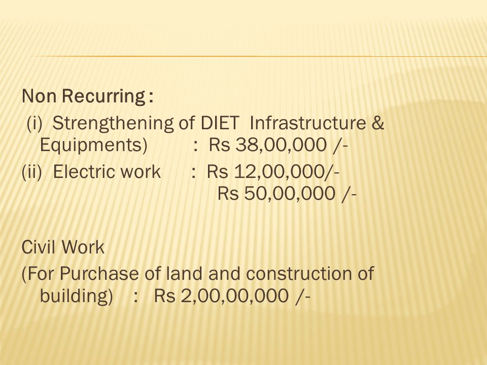 Non Recurring : (i) Strengthening of DIET Infrastructure & Equipments) : Rs 38,00,000 /- (ii) Electric work : Rs 12,00,000/- Rs 50,00,000 /- Civil Work (For Purchase of land and construction of building) : Rs 2,00,00,000 /-