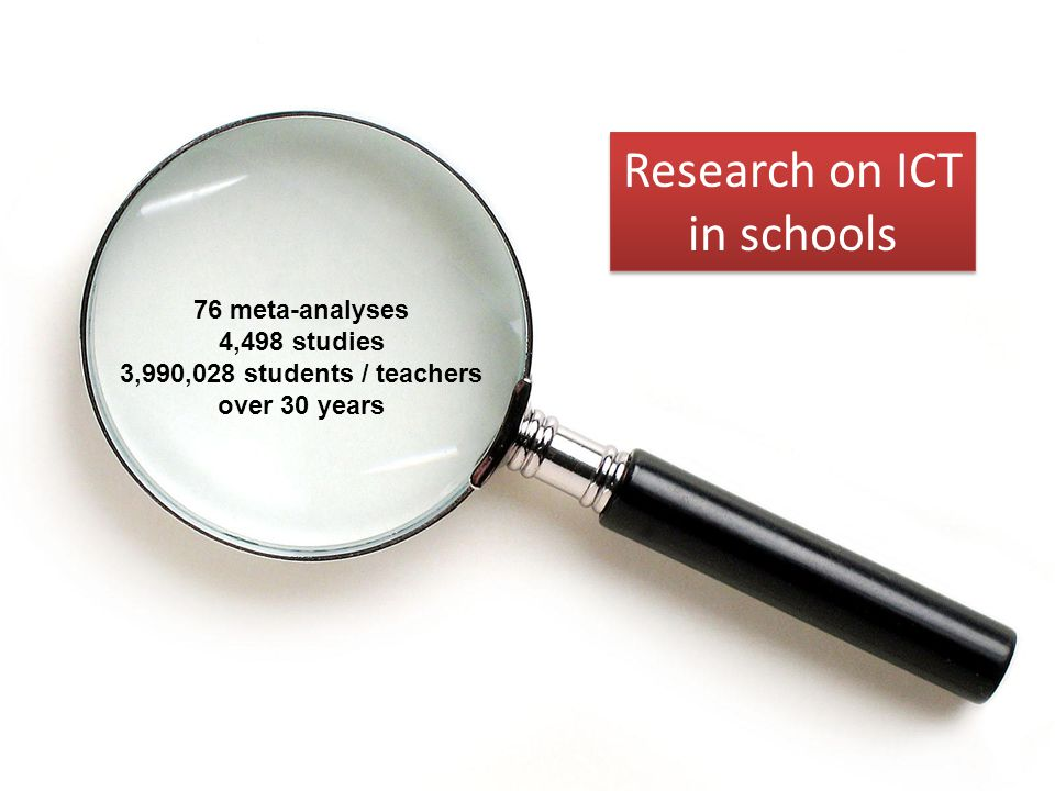 Research on ICT in schools 76 meta-analyses 4,498 studies