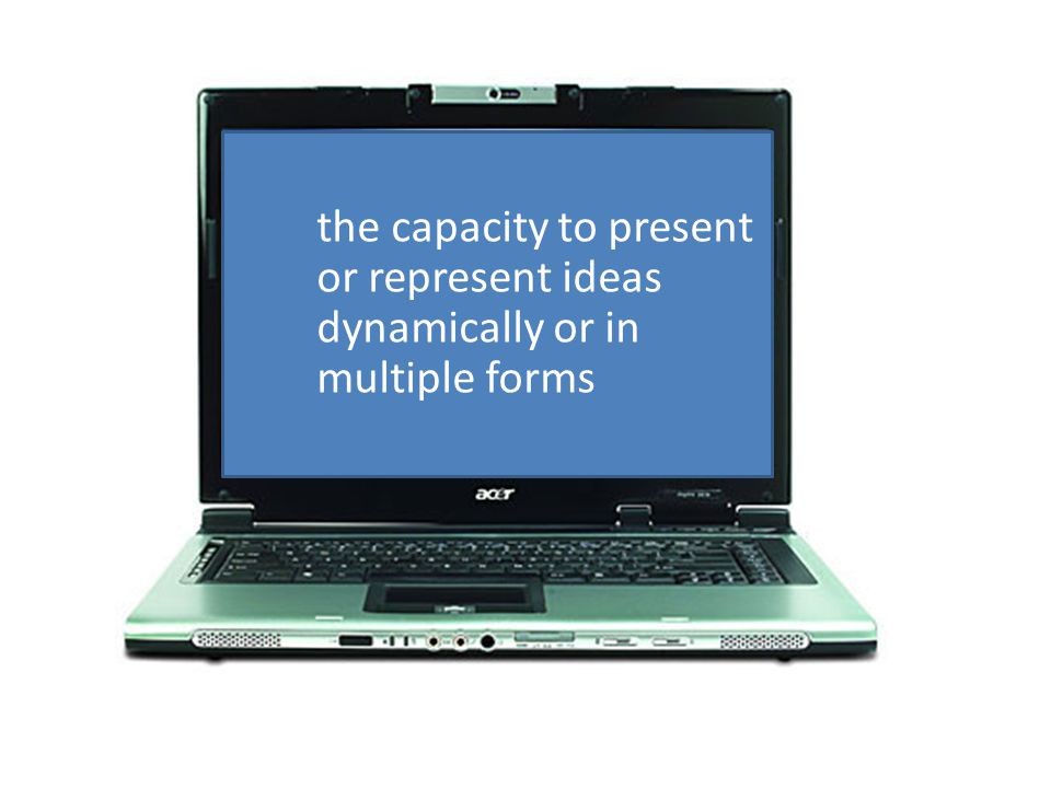 the capacity to present or represent ideas dynamically or in multiple forms