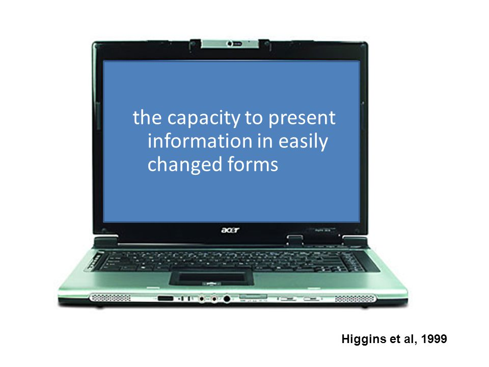 the capacity to present information in easily changed forms