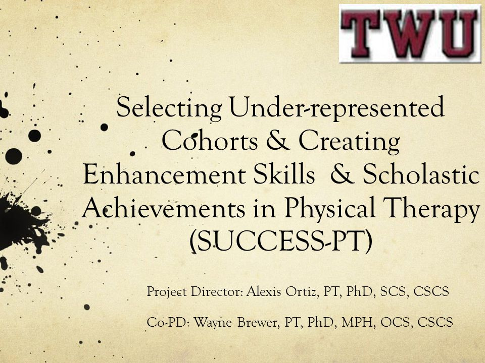 Selecting Under-represented Cohorts & Creating Enhancement Skills & Scholastic Achievements in Physical Therapy (SUCCESS-PT)