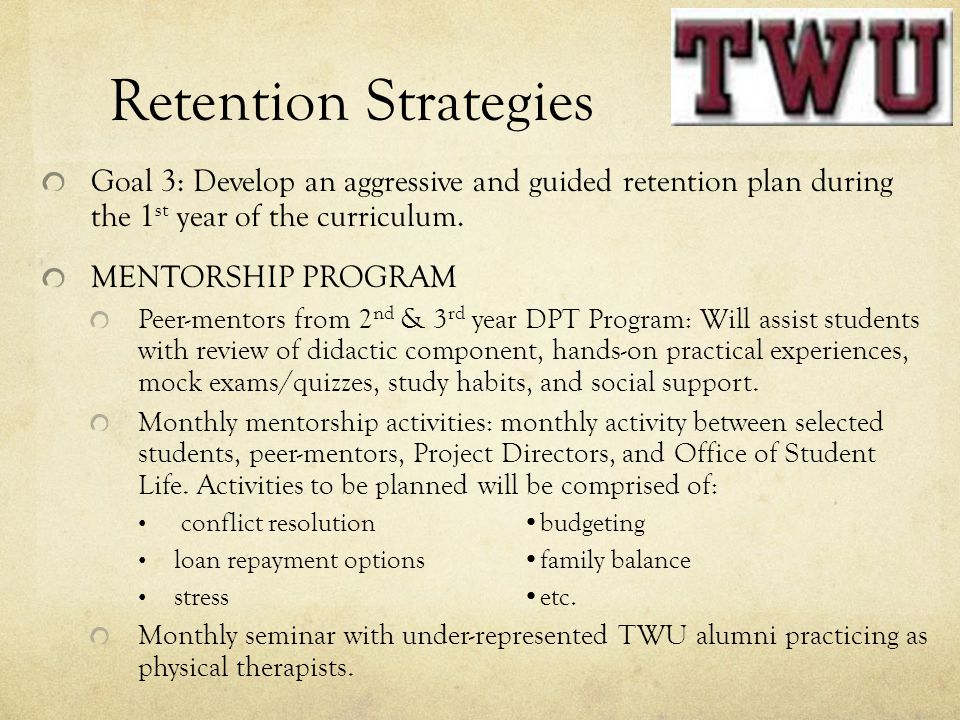 Retention Strategies Goal 3: Develop an aggressive and guided retention plan during the 1st year of the curriculum.