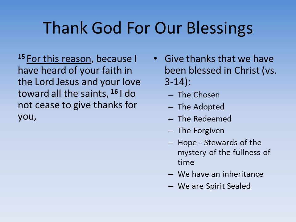 Thank God For Our Blessings