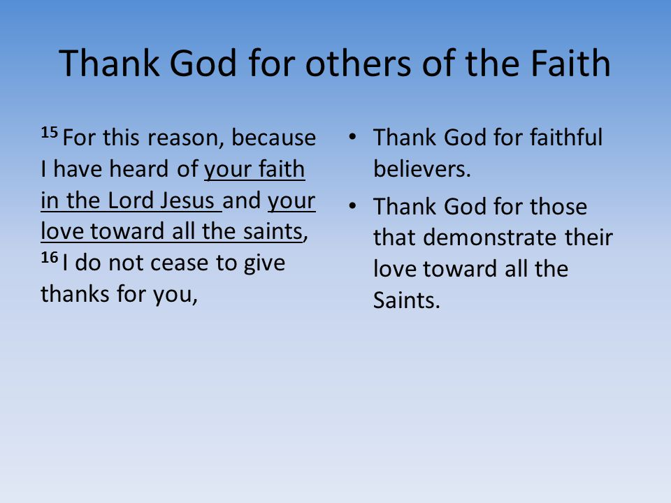 Thank God for others of the Faith
