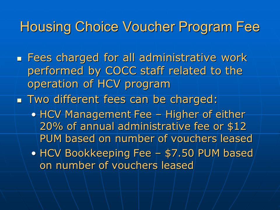 Housing Choice Voucher Program Fee