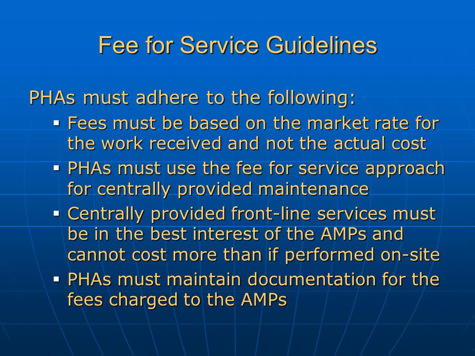Fee for Service Guidelines