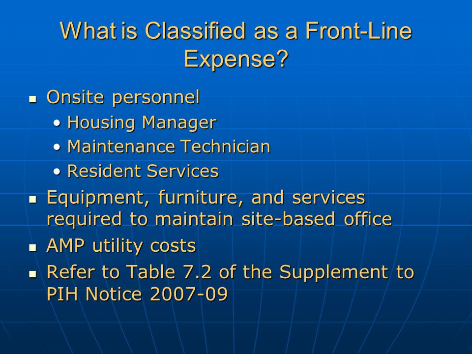 What is Classified as a Front-Line Expense