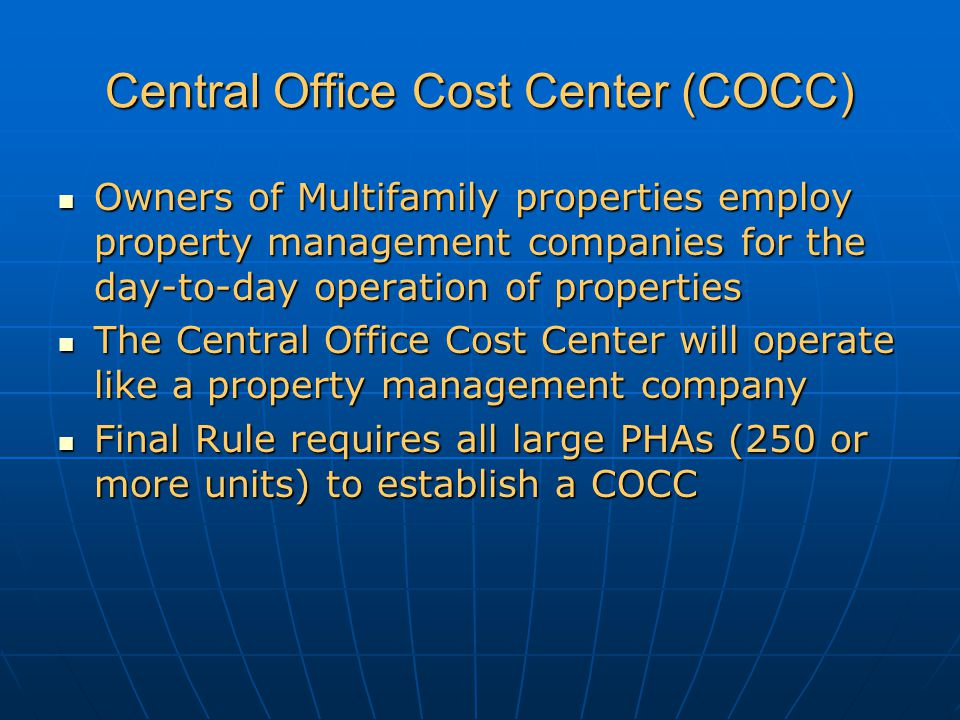 Central Office Cost Center (COCC)