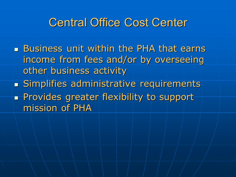 Central Office Cost Center