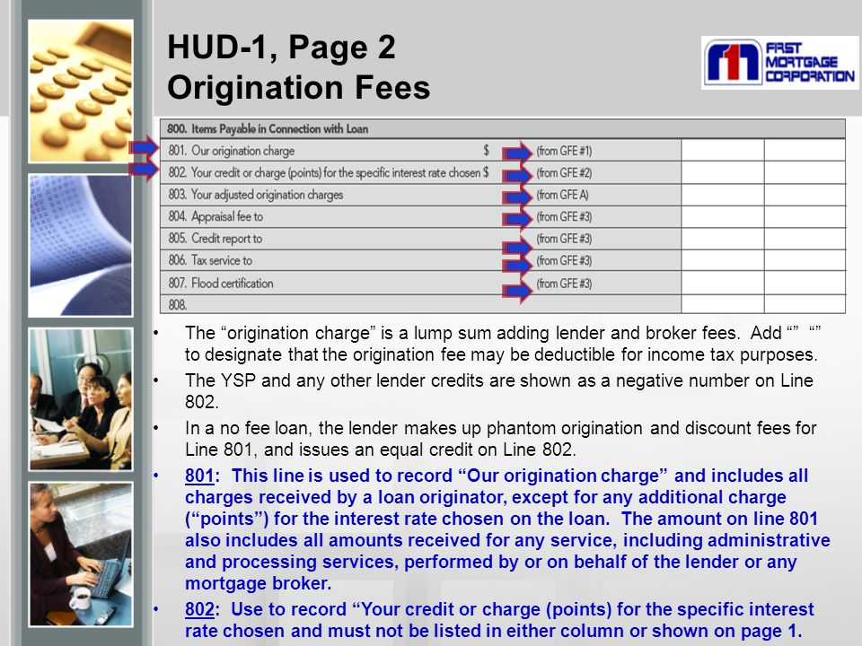 HUD-1, Page 2 Origination Fees