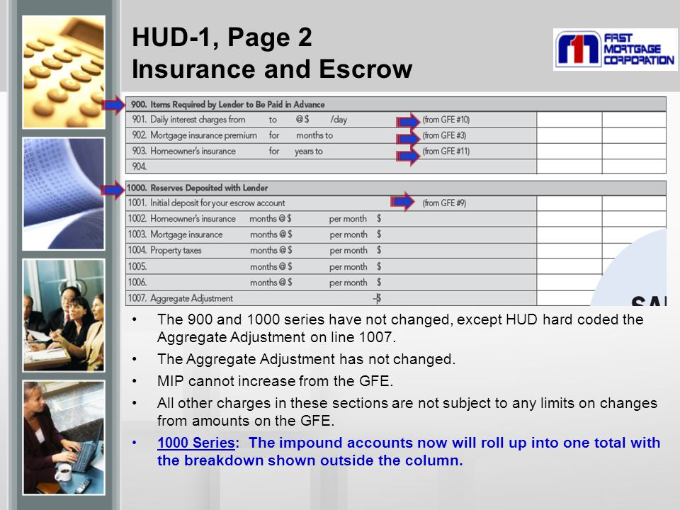 HUD-1, Page 2 Insurance and Escrow