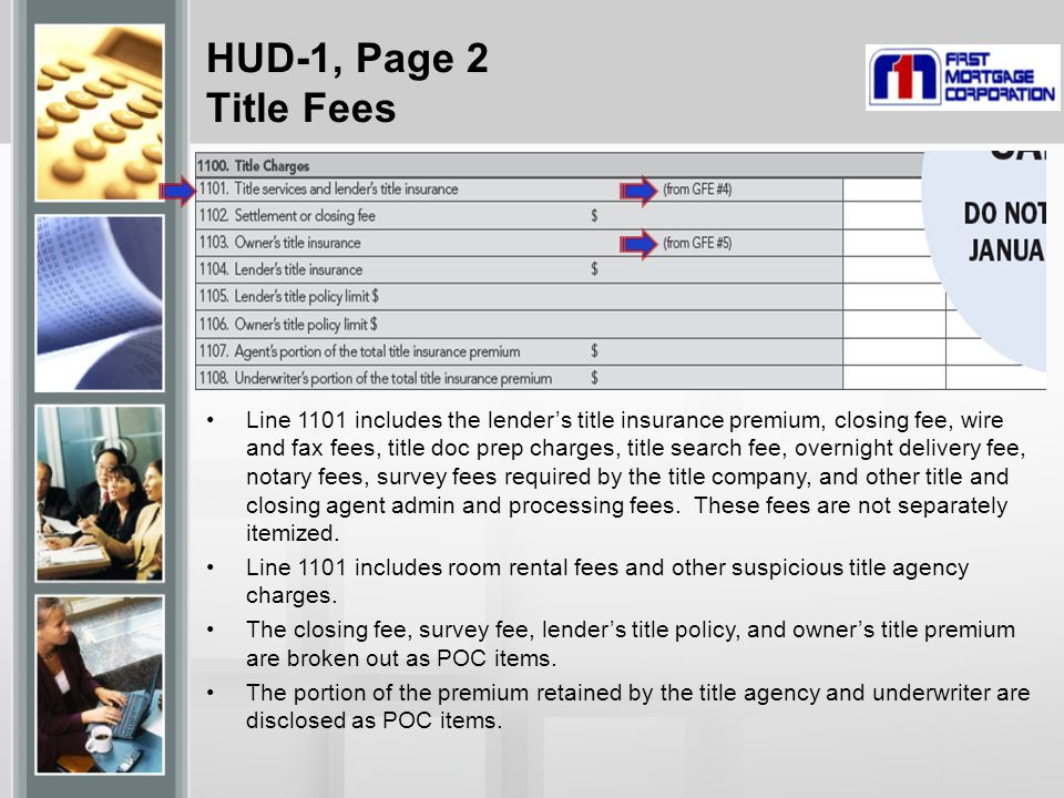 HUD-1, Page 2 Title Fees