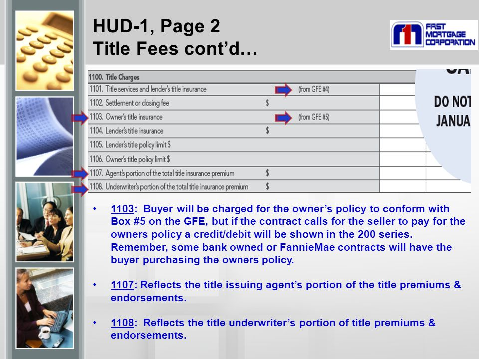 HUD-1, Page 2 Title Fees cont'd…