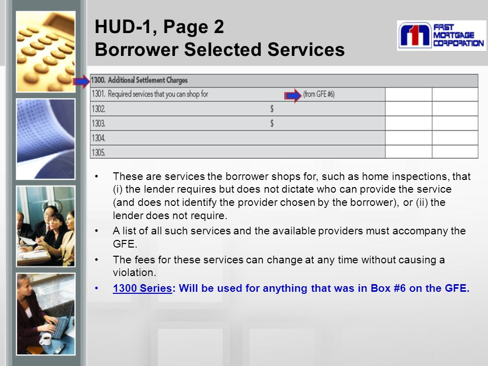 HUD-1, Page 2 Borrower Selected Services