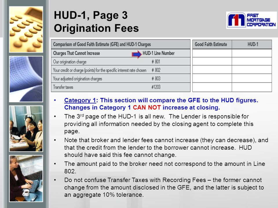 HUD-1, Page 3 Origination Fees