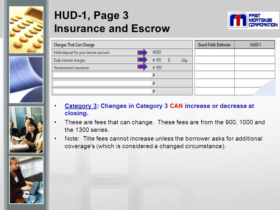 HUD-1, Page 3 Insurance and Escrow