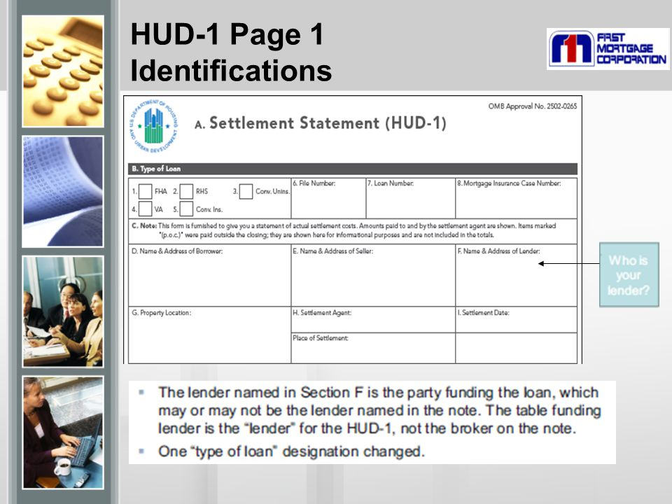 HUD-1 Page 1 Identifications