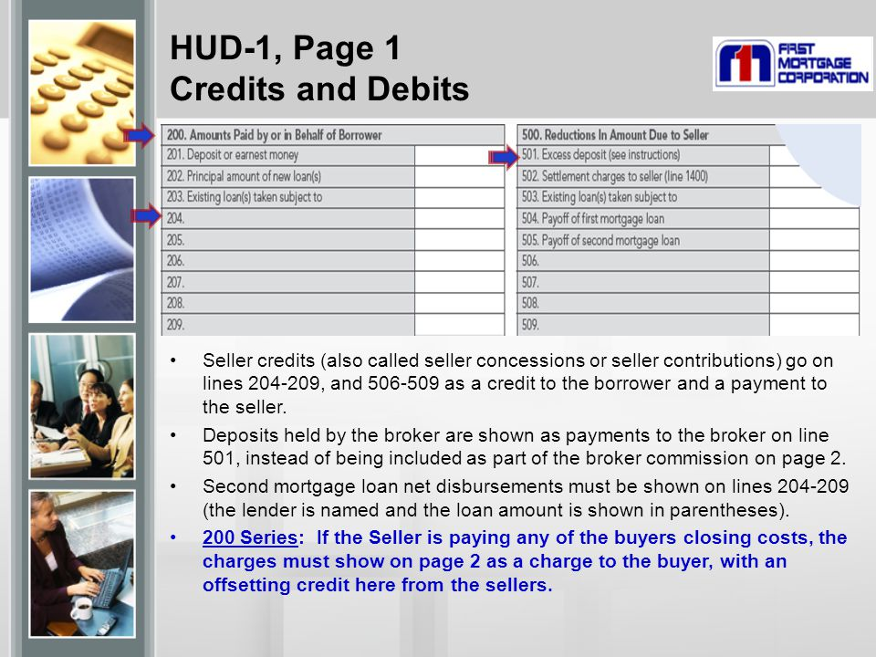 HUD-1, Page 1 Credits and Debits