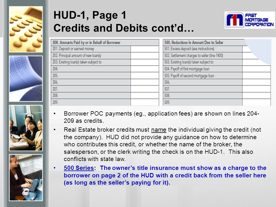 HUD-1, Page 1 Credits and Debits cont'd…