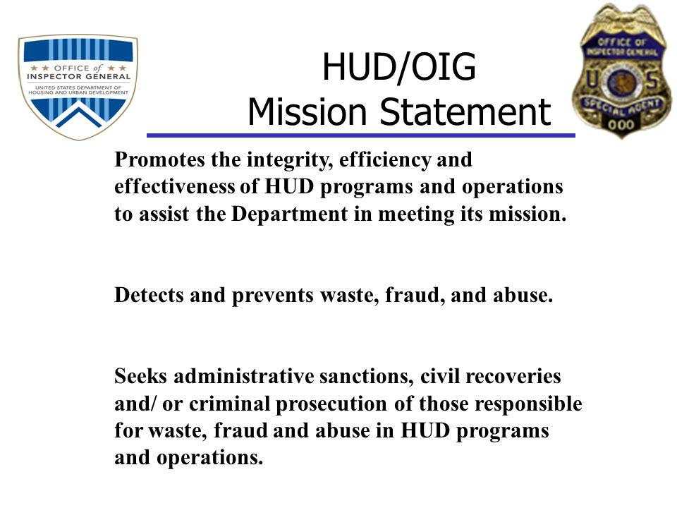 HUD/OIG Mission Statement