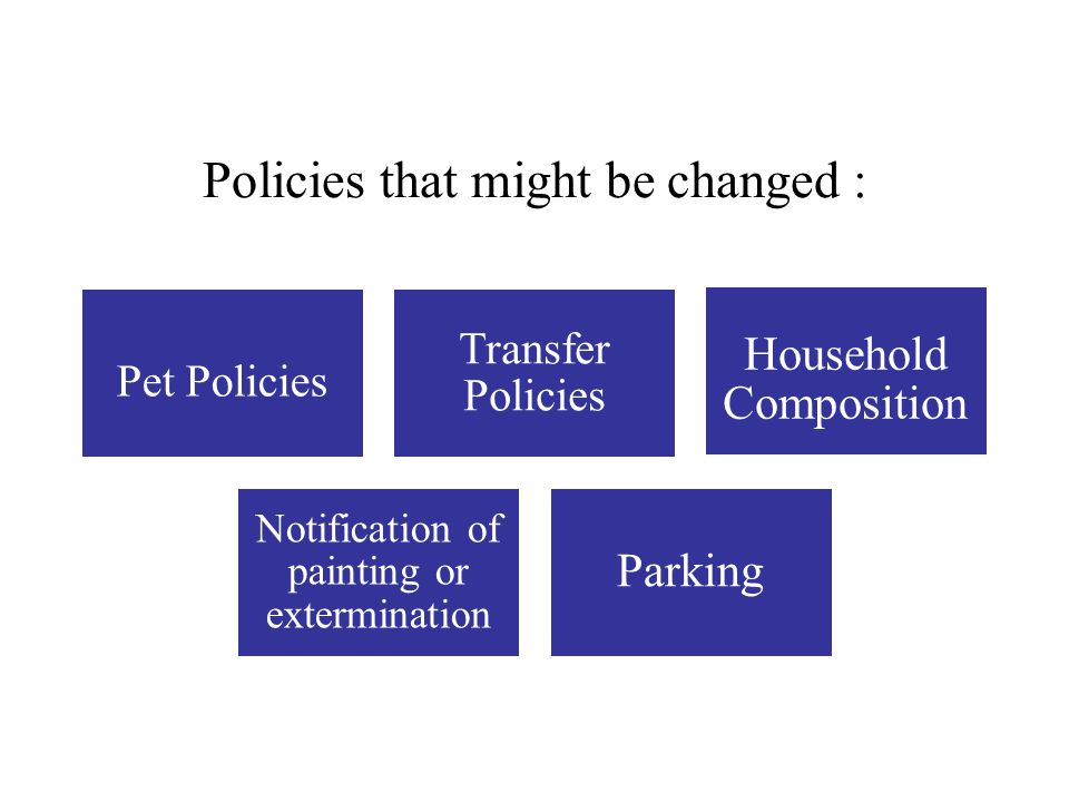 Policies that might be changed :