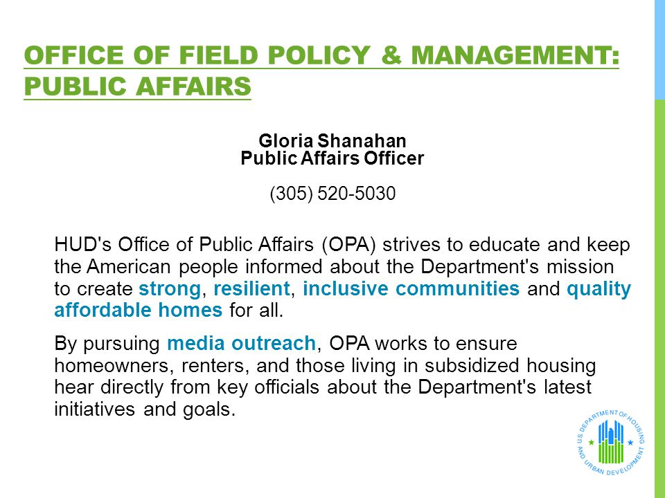 Office of Field Policy & Management: Public Affairs