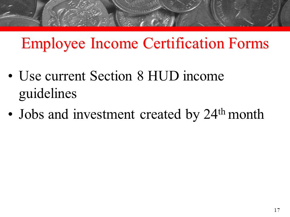 Employee Income Certification Forms