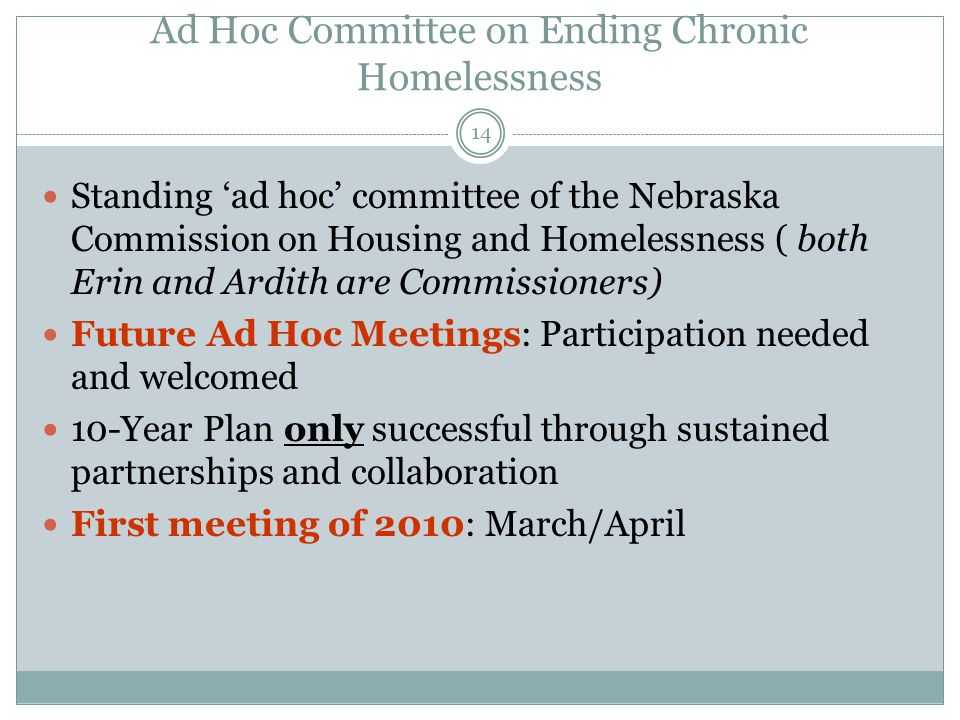 Ad Hoc Committee on Ending Chronic Homelessness