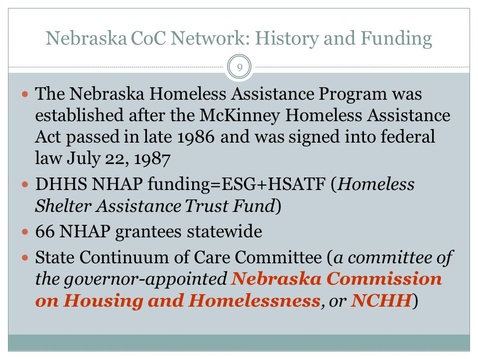Nebraska CoC Network: History and Funding