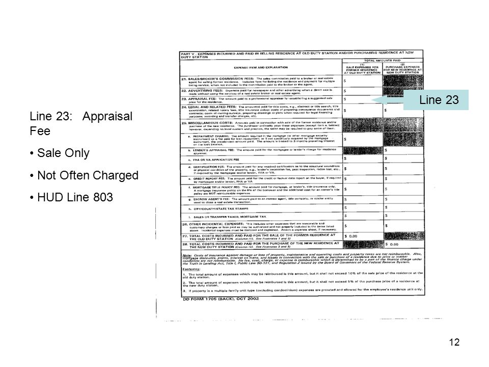 Line 23 Line 23: Appraisal Fee Sale Only Not Often Charged HUD Line 803