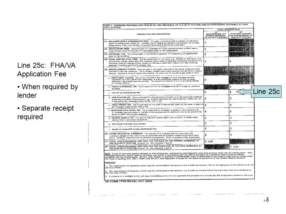 Line 25c: FHA/VA Application Fee