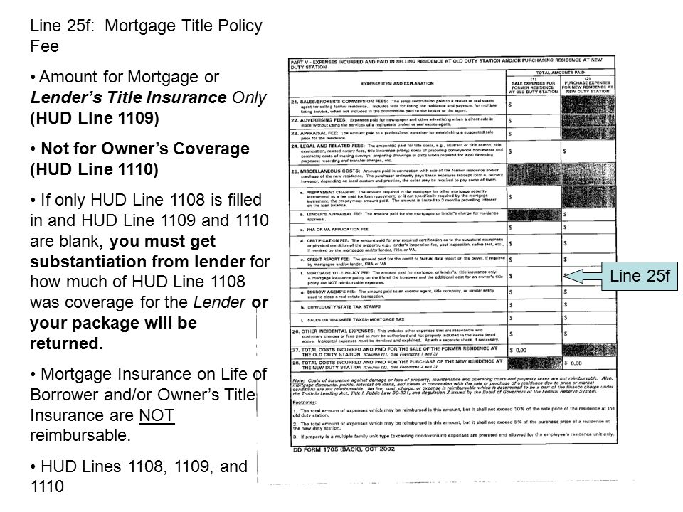 Line 25f: Mortgage Title Policy Fee