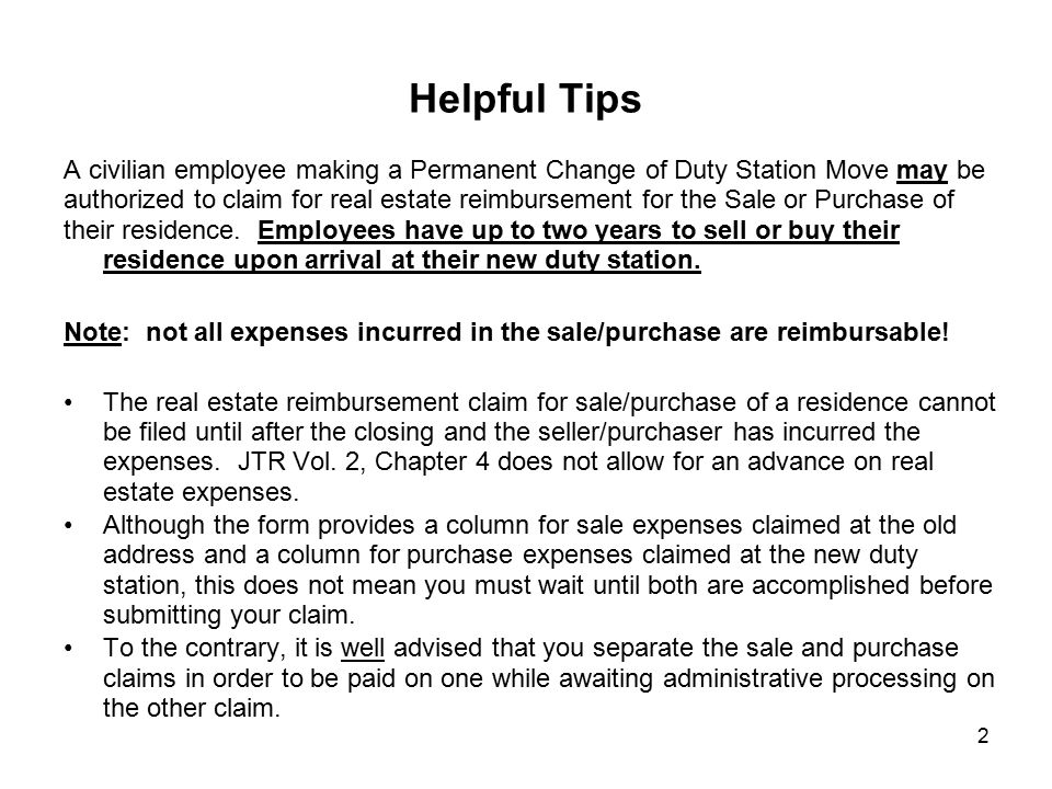 Helpful Tips A civilian employee making a Permanent Change of Duty Station Move may be.