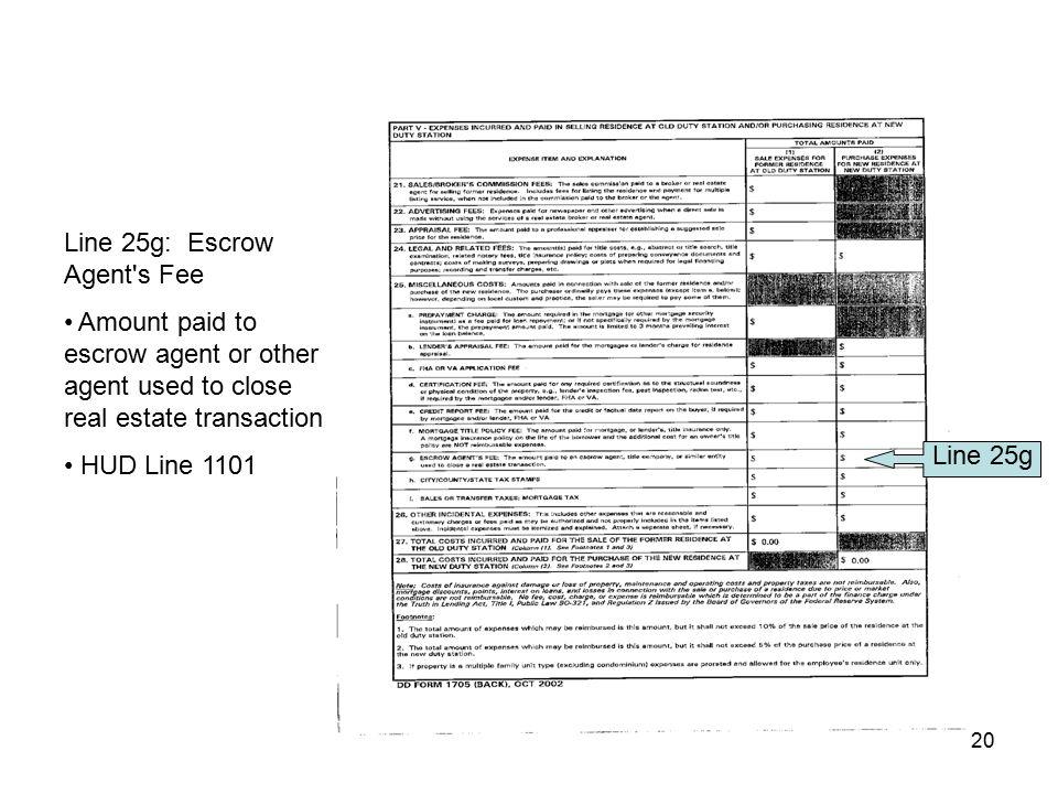 Line 25g: Escrow Agent s Fee