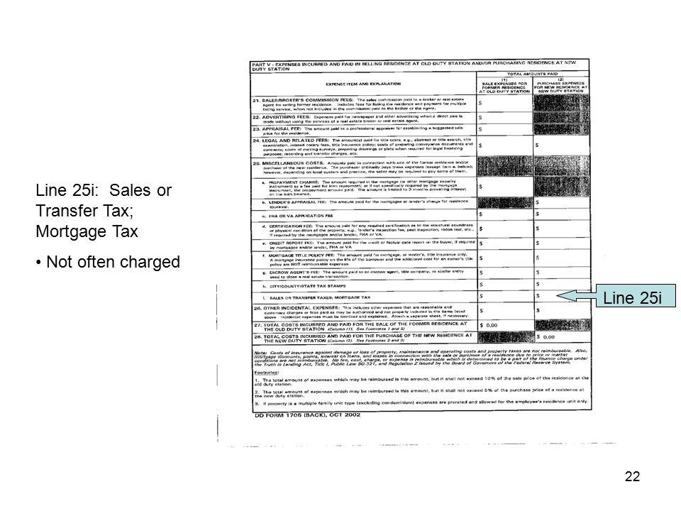 Line 25i: Sales or Transfer Tax; Mortgage Tax